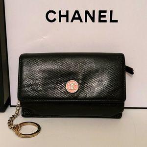 Chanel Caviar CC Button Card Holder Keychain